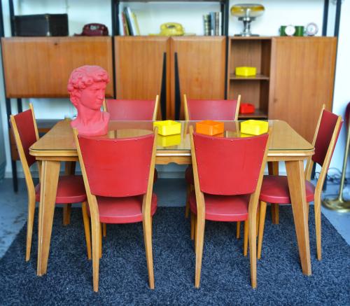 tavolo-sedie-rosse-anni '50 -Italia